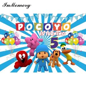 Image 2 - InMemory Cartoon Photo Backdrops Pocoyo theme Children Birthday Party Colorful Balloons Photographic Backdgrounds For Studio