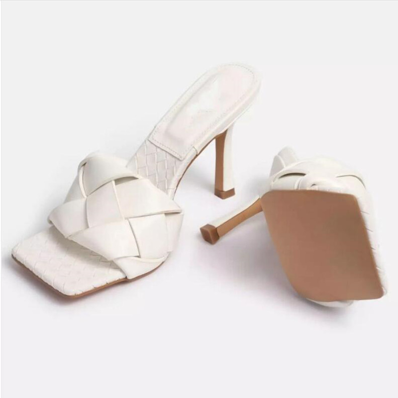 Internet Celebrity  Hand Knitting  High Heel Sandals  Square Head  Slipper  Woman Shoes  Large Size  35-41