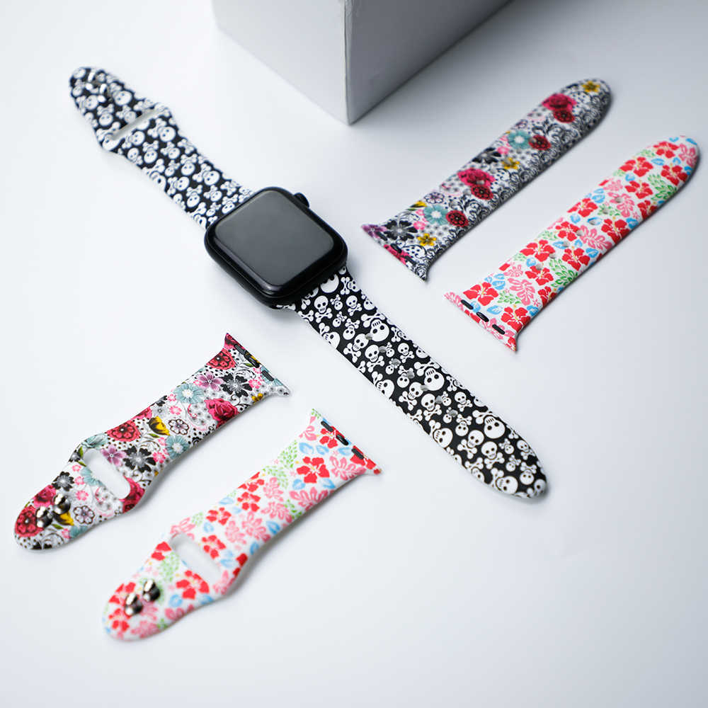 Printed Strap For Apple Watch band 4 (iwatch 5) 44mm 40mm applewatch 3 2 1 strap 42mm 38mm Silicone Bracelet Accessories