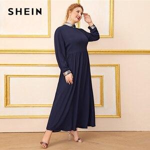 Image 3 - Шеин размера плюс темно синее платье с контрастной отделкой пайетками для женщин, с длинным рукавом, осень, высокая талия, ТРАПЕЦИЕВИДНОЕ элегантное платье макси