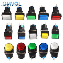 1 шт. 16 мм Прямоугольный Мгновенный кнопочный переключатель, светодиодный светильник 5Pin 5 в 12 В 24 В 220 В 3 года гарантии, светодиодный сброс