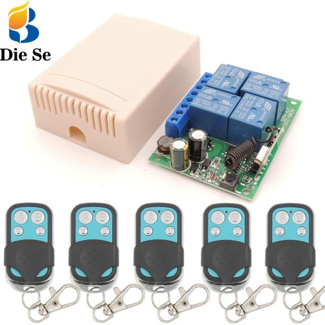 Controle remoto 433mhz 220v 4ch 10a, receptor de relé e transmissor para controle remoto de garagem e controle remoto interruptor de luz