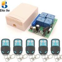 Mando a distancia 433Mhz 220V 4CH 10A rf, receptor de relé de interruptor y transmisor para Control remoto de garaje e interruptor de luz remota