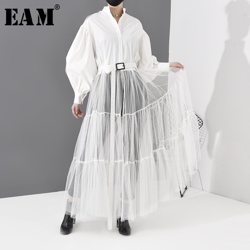 [EAM] Women White Mesh Split Big Size Long Dress New Stand Collar Long Sleeve Loose Fit Fashion Tide Spring Autumn 2020 1N8790