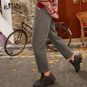 Image 3 - ELFSACK Black Solid Korean Warmness Women Pants 2020 Winter Black Elastic Waist Straight Office Ladies Basic Daily Trousers