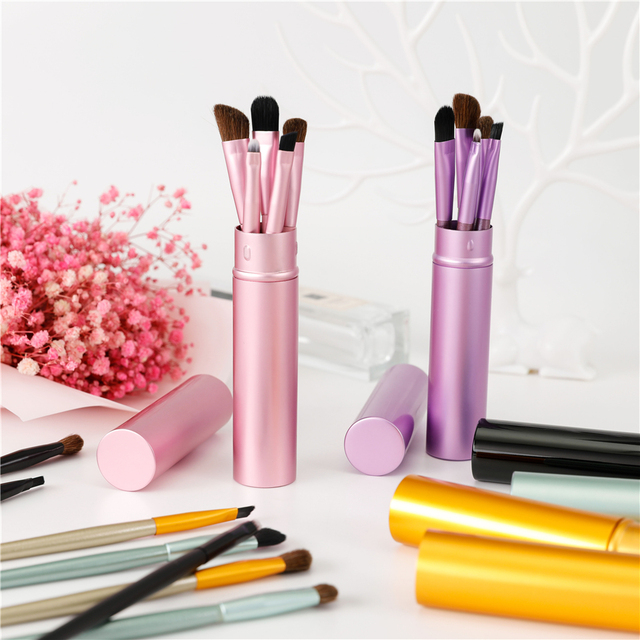 New 5pcs Professional Travel Portable Mini Eye Makeup Brushes Set Smudge Eyeshadow Eyeliner Eyebrow Brush Lip Make Up Brush kit 5