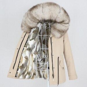 Image 3 - OFTBUY 2020 מעייל נשים אמיתי parka פרווה מעיל גדול טבעי דביבון פרווה צווארון ברדס ארנב פרווה מעיילים חם עבה
