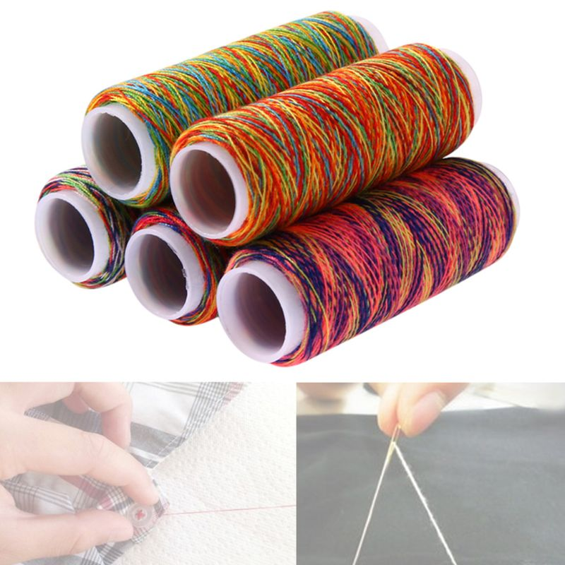 5Pcs/Set Gradient Rainbow Colorful Polyester Thin Hand Sewing Thread Embroidery Stitching Yarn DIY Craft Knitting Accessories