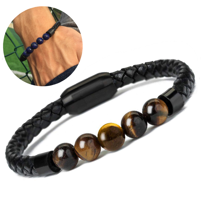 2020 New Fashion Charm Male Leather Bracelet Lava Chakra Stone Beads Black Stainless Bracelets & Bangles for Men Punk Jewelry