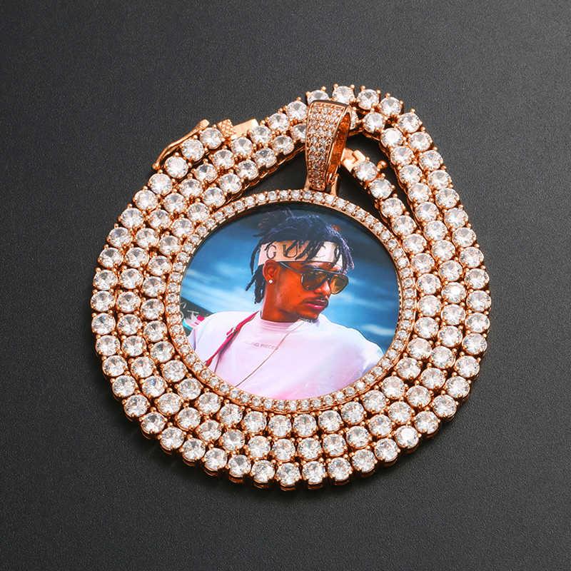 Hot Foto Kustom Besar Ukuran Besar Liontin Kalung Kepribadian pria Hip Hop Perhiasan 4mm Tenis Rantai Kubik Zircon emas Silve Hadiah
