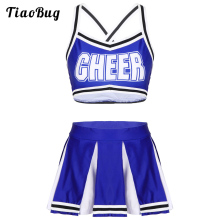 Women Adults Cheerleader Costume Sleeveless Back Crossed Crop Top With High Waist Mini Pleated Skirt Female Cheerleading Uniform