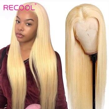 613 blond koronkowa peruka na przód HD przejrzyste koronki przodu peruki z ludzkich włosów Remy brazylijski prosto 13x6 koronkowa peruka z przodu Recool