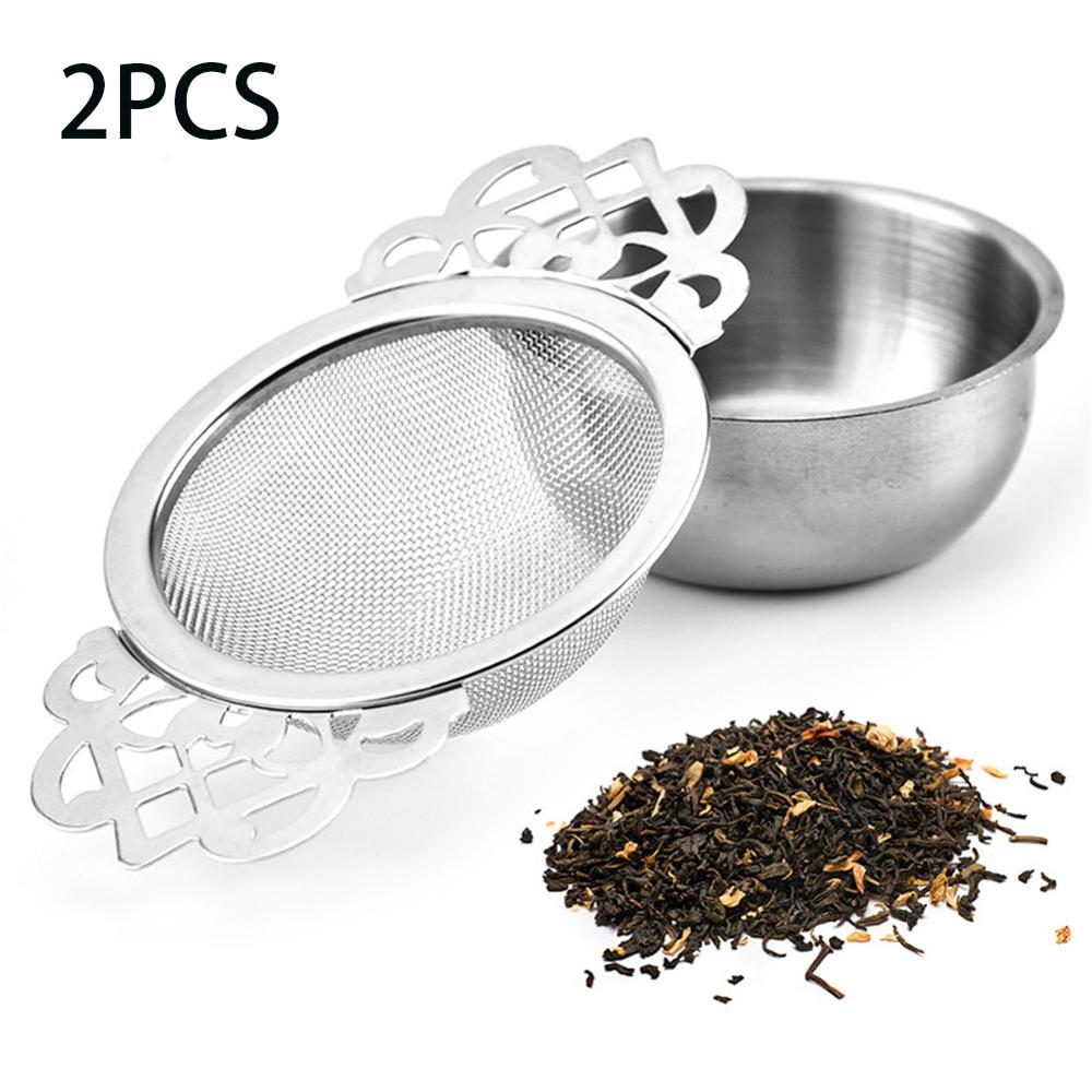 1/2pcs Spice Stainless Steel Tea Strainer With Drip Bowl Easy Clean Loose Leaf Hanging Herbal Double Ear Infuser Filter Mesh