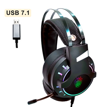 USB 7.1 & Wired Music & Gaming Headphones Headsets with Microphone Stereo Game Earphones Anti-noise Bass RGB Light For PC PS4