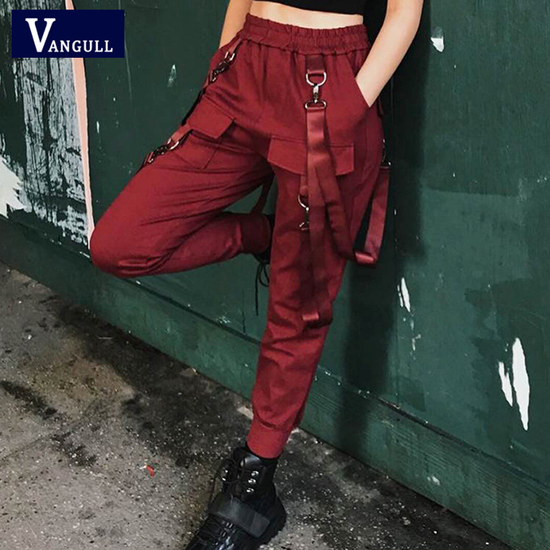 Vangull Women Streetwear Cargo   Pants   Ankle-length Loose Casual Joggers High Waist   Pants   Female Harajuku Spoof Ladies   Pants     Capri
