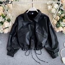 ZQLZ-abrigo Vintage de piel sintética para Mujer, Punk de un solo pecho Chaqueta corta, holgada, color negro, 2020