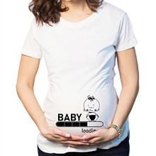 Women O-Neck Short Sleeve BABY LOADING Print Pregnancy Maternity Loose Top Tee blouses and shirts for ladies maternity dress