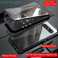 Di lusso 360 Full Body Protettiva Della Cassa Magnetica per Samsung S10 S9 S8 Più Nota 10 9 8 note10 + A30 a50 A60 A70 2019 di Vetro di Copertura
