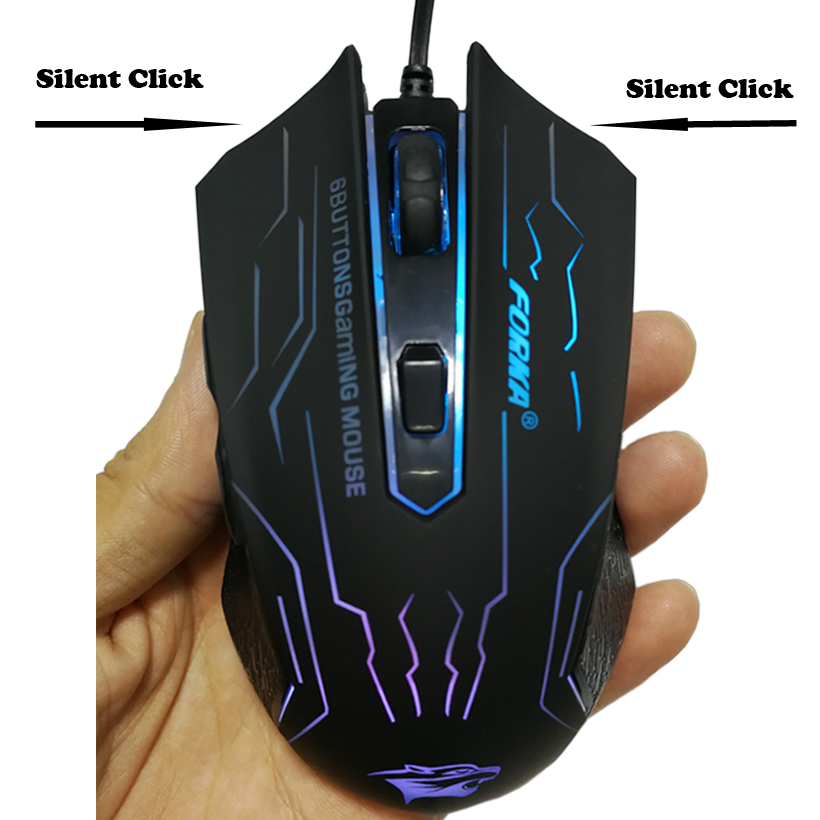 FORKA Silent Click USB Wired Gaming Mouse 6 Buttons 3200DPI Mute Optical Computer Mouse Gamer Mice for PC Laptop Notebook Game 6