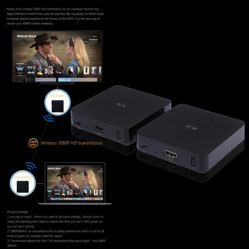 Işıklar ve Aydınlatma'ten Konnektörler'de Video iletim ekipmanları alıcı mesafesi 30 metre için w2h kablosuz HD 1080p 60ghz 3d siyah görünüm 87x 87x21mm title=