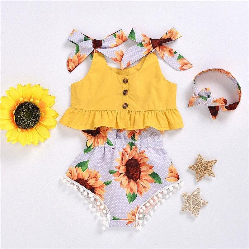 2020 летняя одежда для новорожденных девочек майка без рукавов с буквенным принтом шорты с цветочным принтом + повязка на голову, комплект из 3...