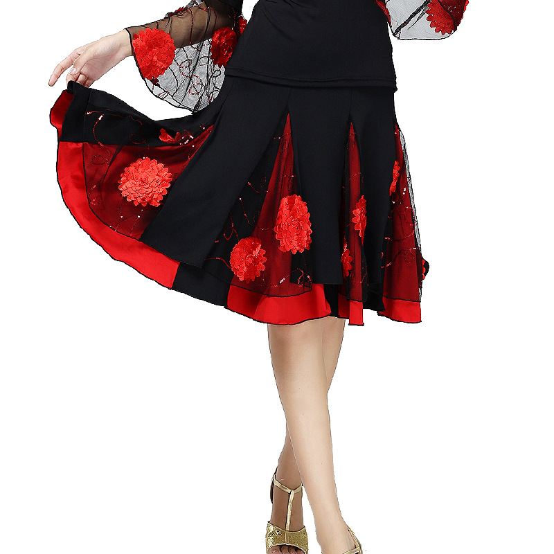 Women Sequins Embroidery Ballroom Dance Skirt Flower Waltz Dance Skirt Modern Show Square Performance Dance Wear