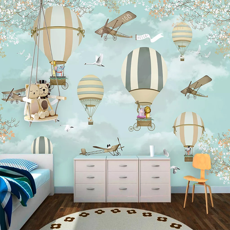 Custom 3D Photo Wallpaper For Kids Room Cartoon Hot Air Balloon Children Room Boy Girl Bedroom Wall Decor Mural Papel De Parede