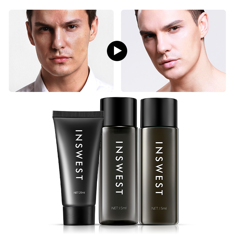 3Pcs Men Brightening Skin Care Set Cleanser & Toner & Lotion Moisturizing Anti Aging Smooth Daily Facial Care 20+15+15ml