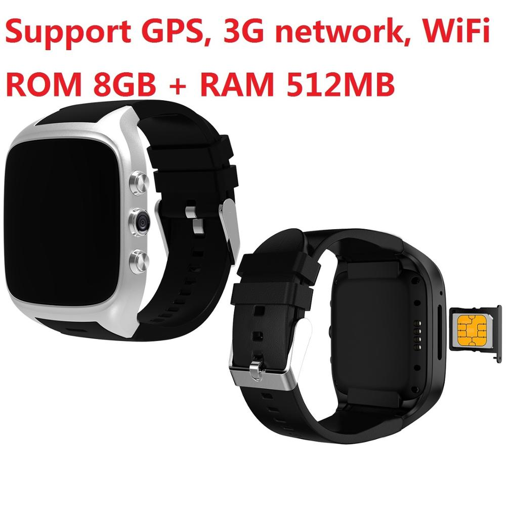 8GB ROM WiFi Smart Watch support APP download internet men women 3G net Wristwatch SIM Card Camera GPS Watch image