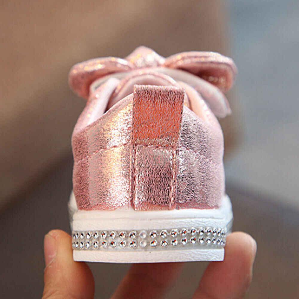 CYSINCOS ילדים ארבע עונה נעלי פעוטות בייבי בנות קשת נצנצים עריסה נעליים יומיומיות גליטר Bowknot שמלת נעליים