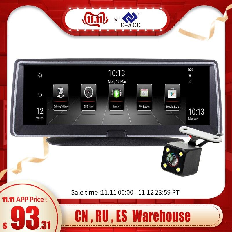 E-ACE e04 8 Polegada 4g android lente dupla carro dvr gps navigator adas completo hd 1080 p traço cam registrador de vídeo automático navegação gravador