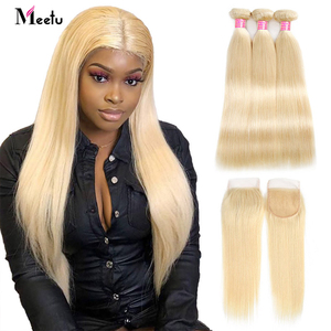 Meetu Blonde Straight Hair Bundles with Closure 613 Hair Bundles with Closure Remy Brazilian Human Hair Weave with Closure