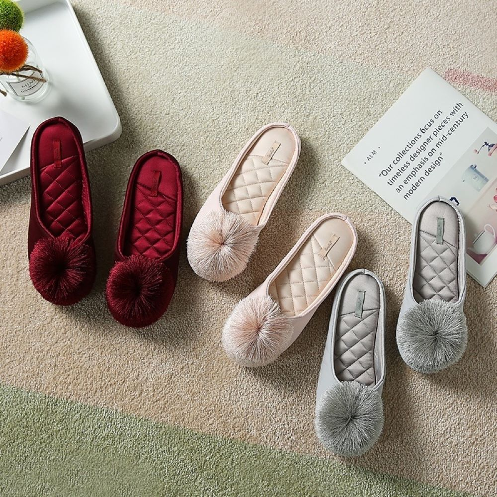 Women House Slippers Memory Foam Slip-on Comfort Tassel Pom-Pom Home Shoes
