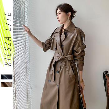 Women Long PU Leather Trench Coat Black Brown Sashes Loose Faux Leather Coats Jacket 2020 New Fashion Clothing Good Quality 1