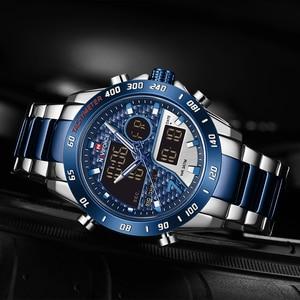 Image 3 - Mens Watches NAVIFORCE Waterproof Military Sports Quartz Full Steel Digital LED Wrist Watch Clock Male Relogio Masculino 2020