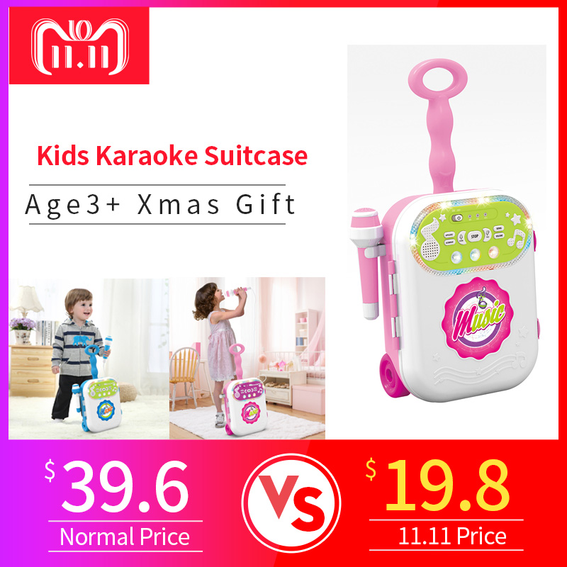 Children Music Luggage Suitcase  Karaoke Singing Machine With Microphone Age3+ Boys Girl Funny Gift Toy Musical Instrument