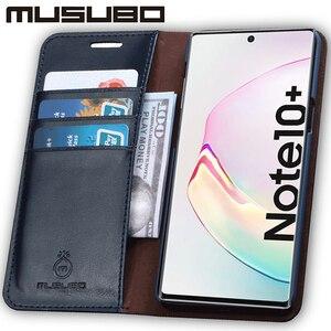 Image 4 - Muselo caso de luxo para samsung galaxy note 10 capa de couro genuíno para funda nota 9 aleta carteira s20 s10e s10 + cartão telefone coque