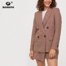 ROHOPO Thin striped Houndstooth Double breast Buttons Blazer Notched Collar Red Plaid Chic Ladies Slim Outwear #27365