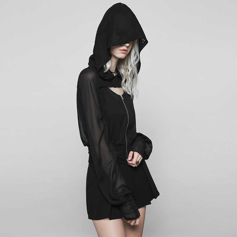 Женское короткое пальто PUNKRAVE, готическое, темное, шифоновое, уличное, с капюшоном, из стрейчевой сетки, с v-образным вырезом, пикантная, красивая, свободная, тонкая куртка