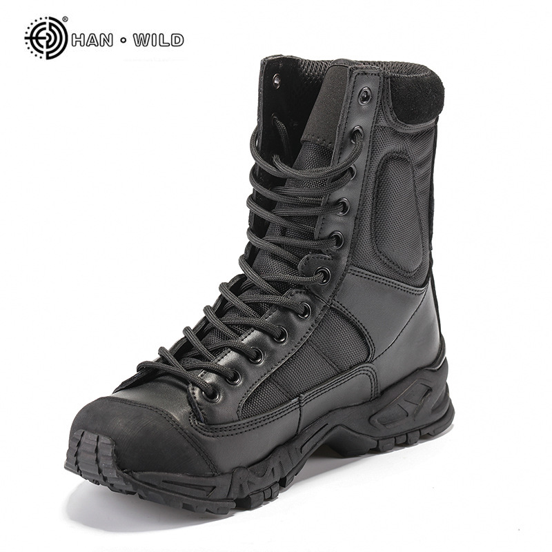 black leather military boots mens