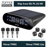 70mai sistema de supervisión de presión de neumáticos para coche Móvil APP Control LED pantalla Solar 4 sensores 70Mai TPMS alarma de seguridad para coche