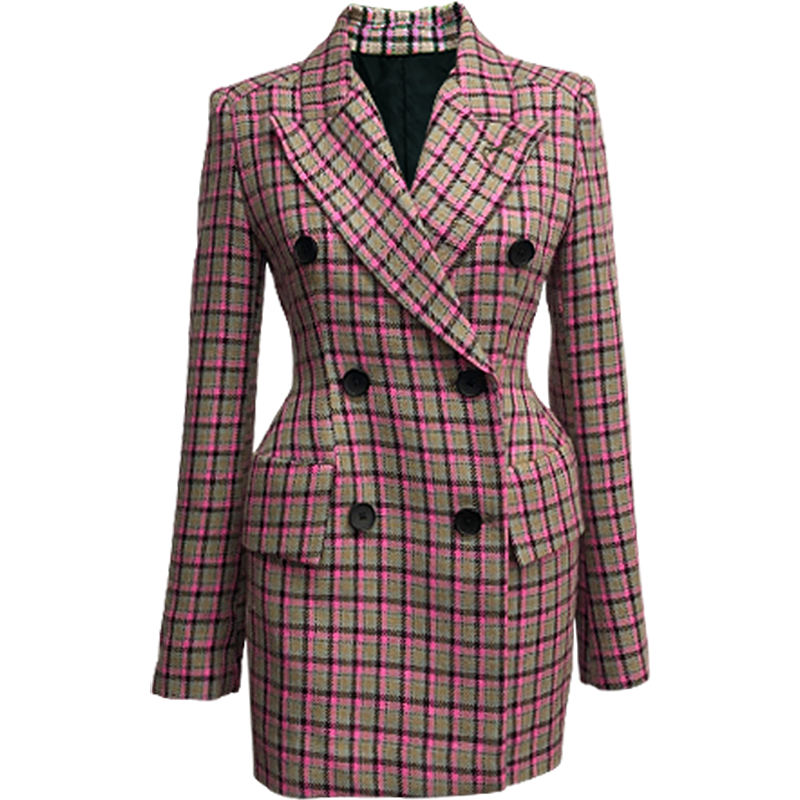 Spring Autumn New Fashion Notched Collar Full Sleeves Plaid Suit Jacket Women Double Breasted Design Slim Blazer