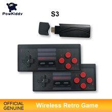 Powkiddy s3 console de jogos de vídeo usb 8 bits tv sem fio handheld mini game console construir em 628 clássico dupla saída gamepad hdmi/av
