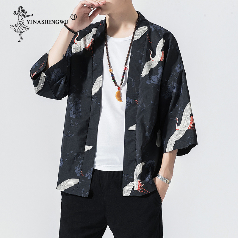 Men Yukata Women Japanese Kimono Traditional Couple Kimonos Harajuku Cardigan Beach Loose Thin Shirt Sun-protective Shirts Coat