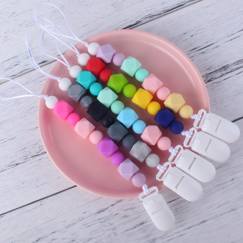1Pcs Candy Colorful 12mm Round Silicone Beads Safe Teething Pacifier Clips Chain Dummy Holder
