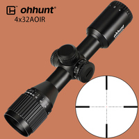 ohhunt 4X32 AOIR Hunting Compact Riflescope Mil Dot Illumination Glass Etched Reticle Tactical Optical Sights with Turrets Reset
