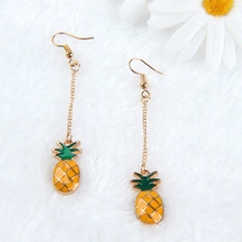 Hot Selling Beautiful Alloy Yellow Pineapple Drop Earring Ear Hook For Women Gift Fashion Jewelry Accessories