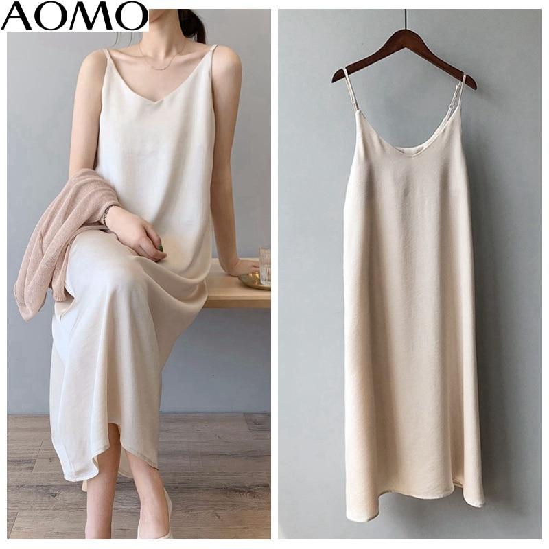 AOMO  Women Silk Midi Dress Strap Adjust Sleeveless 2020 Summer Lady Elegant Dresses High Quality ASF03A
