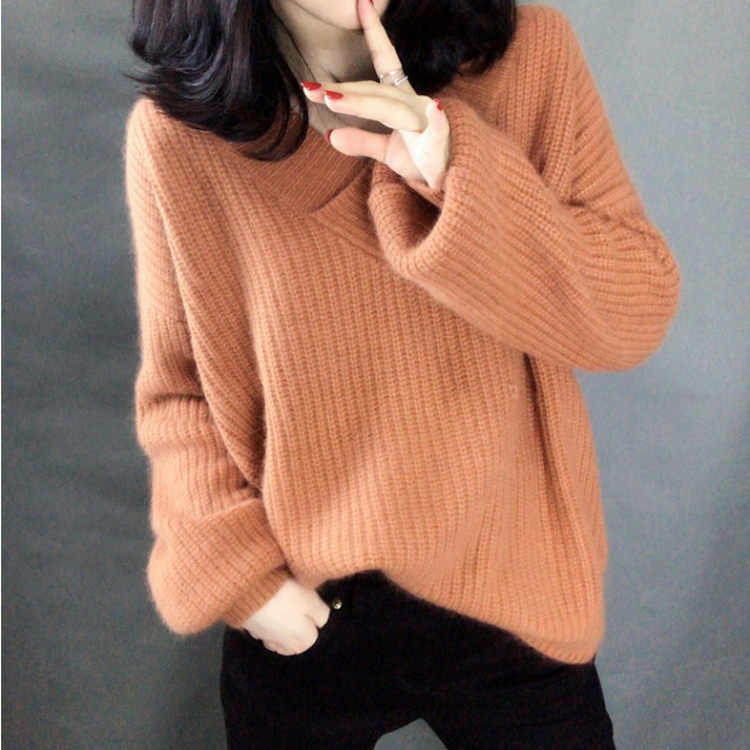 Warm Mohair เสื้อกันหนาวผู้หญิง Pullovers ฤดูใบไม้ร่วงฤดูหนาวแขนยาวหลวมหนา V คอหญิงเสื้อ PLUS ขนาดถักจัมเปอร์