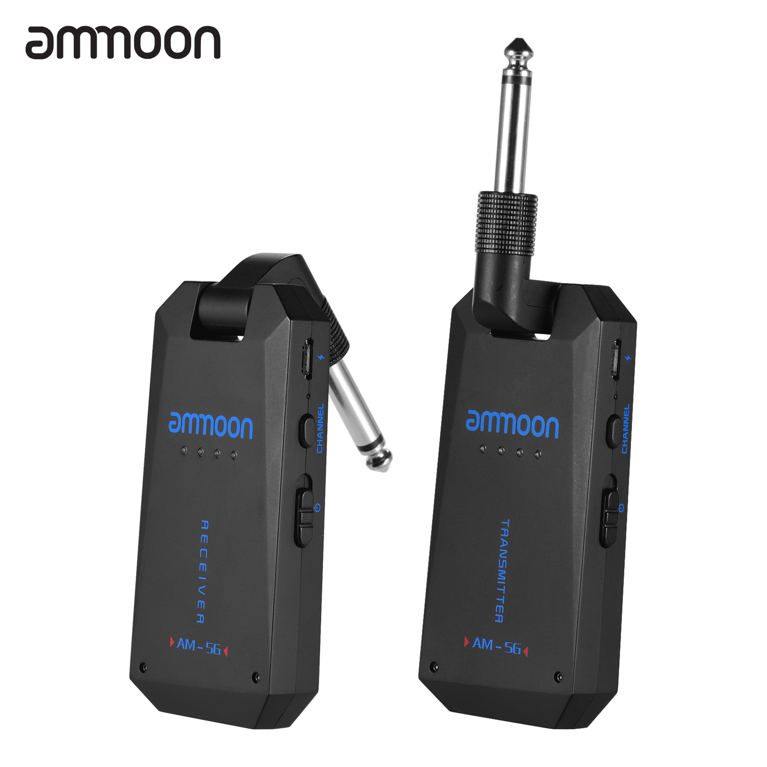 ammoon Wireless Guitar Systems AM-5G Wireless 5.8G Guitar System Rechargeable Audio Transmitter and Receiver ISM Band for Electric Bass Guitars Amplifier Accessories
